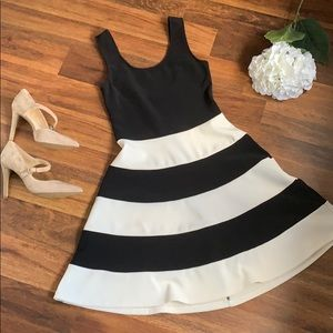 Black and white stripe A- line dress